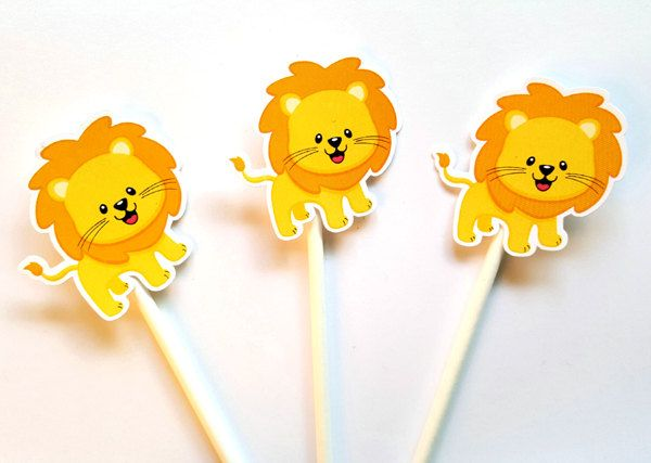 Lion Cupcake Toppers, Jungle Animal Cupcake Toppers, Safari Cupcake Toppers by CraftyCue on Etsy