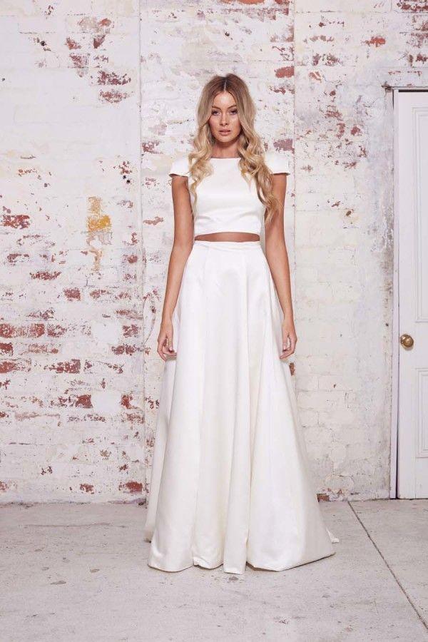 Vestido de novia en dos piezas top corto