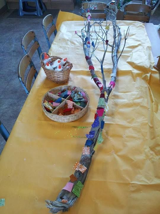 """We tried this idea, originally from """"let the children play"""" the preschoolers loved it, we also added ribbon and string and showed the children how to """"knot"""" . Let the children make their own collage materiel so that they are doing more for themselves. """"The more you do for them, the less they learn!"""""""