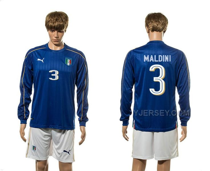 http://www.yjersey.com/3-maldini-home-euro-2016-long-sleeve-italy-jersey.html 3 MALDINI HOME EURO 2016 LONG SLEEVE ITALY JERSEY Only $36.00 , Free Shipping!
