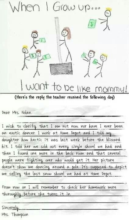 When I grow up I want to be like mommy! #funny #kid #drawing