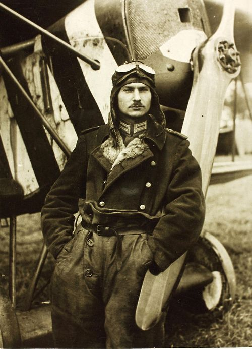 German Aviator Lt. Josef Mai, recipient of the Iron Cross (first and second class) who during the Great War was credited with 30 aerial victories. He fought during the German offensive for Paris, and fought around Warsaw on the Eastern Front in 1915. Later fighting on the Western Front would have him involved with dogfights during both the Battle of Verdun and Battle of the Somme. During World War II, he was a flight instructor for the Luftwaffe. He died in 1982, at the age of 94.