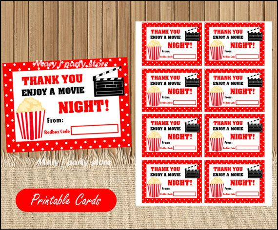 Printable Redbox Gift Card  Teacher Appreciation Gift card