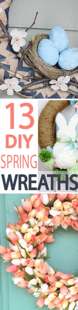 """Nothing says, """"Welcome to Spring"""" like a colorful front-door wreath. I feel like it might convince mother nature to warm up and give off her own blooms. Check out 13 beautiful DIY Spring wreath ideas for Easter!"""
