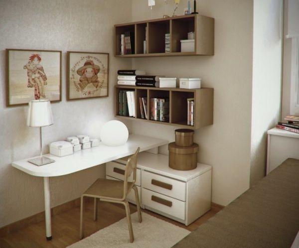 coin bureau chambre ado blanc beige