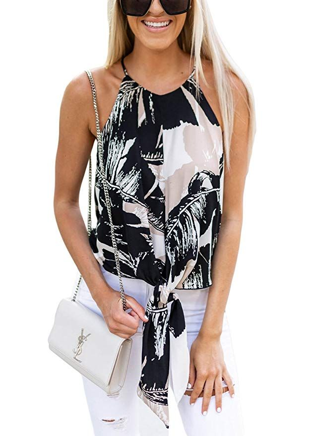 5071bfdc052c4 ROSKIKI Women Summer Sleeveless Tie Front Printed Spaghetti Strap Halter Cami  Tank Tops at Amazon Women's Clothing store: