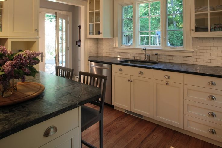 Awesome Soapstone Countertops Cost White Tiles Backsplash White Kitchen Cabinet White Window Frames Wooden Floor