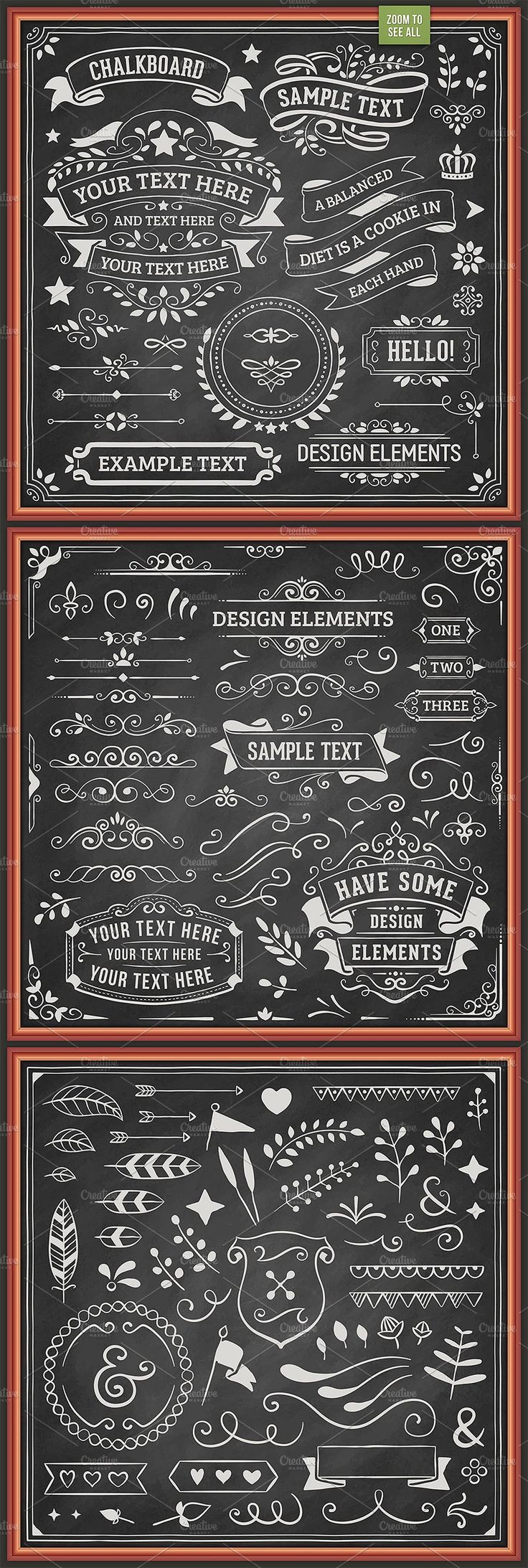 Chalkboard Design Elements by Swedish Points on @creativemarket