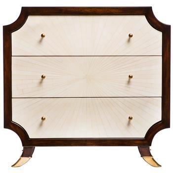 radiant burst hollywood regency cream bone inlay brown nightstand