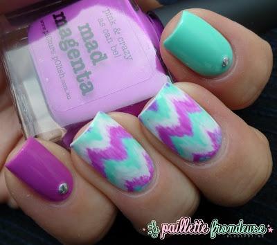 Purple & green chevron design - DIY Nail Art Designs