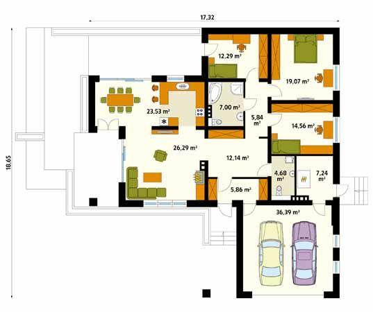 Projekt domu Aksamit 4 - rzut parteru
