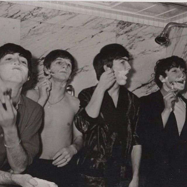 not a barbershop, per se, but still vintage....The Beatles, circa 1964, or 1965