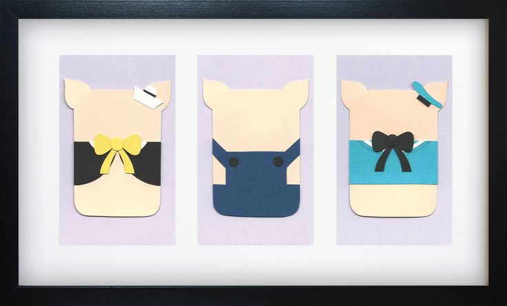 Handmade Minimalist Three Little Pigs Poster