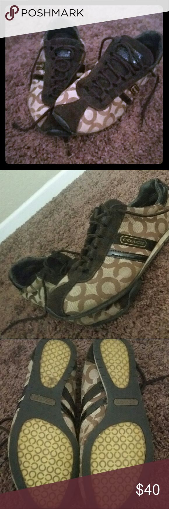 COACH sneakers Brown and tan signature COACH sneakers.   Suuuper comfortable!   Lots of life still left Coach Shoes Sneakers