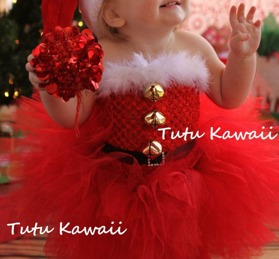 Santa Claus Tutu, Santa Baby, Christmas Tutu, NB-3T, Doubles as Valentine's Day Set, includes jingle bells, sash, & Santa Hat. $70.00, via Etsy.