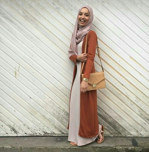Pinned via Nuriyah O. Martinez | Hijab with a maxi dress and a maxi cardigan