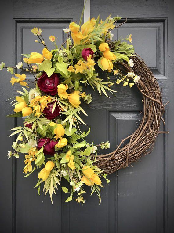 Yellow Purple Wreath Spring Wreaths Front Door Wreath