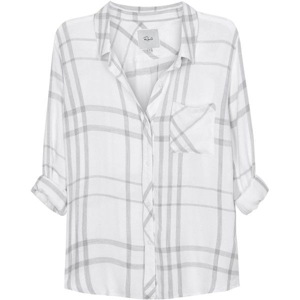 Womens Long-Sleeved Tops Rails Hunter Grey And White Plaid Flannel... (13.125 RUB) via Polyvore featuring tops, flannel shirt, gray long sleeve shirt, gray shirt, white long sleeve shirt и plaid shirt