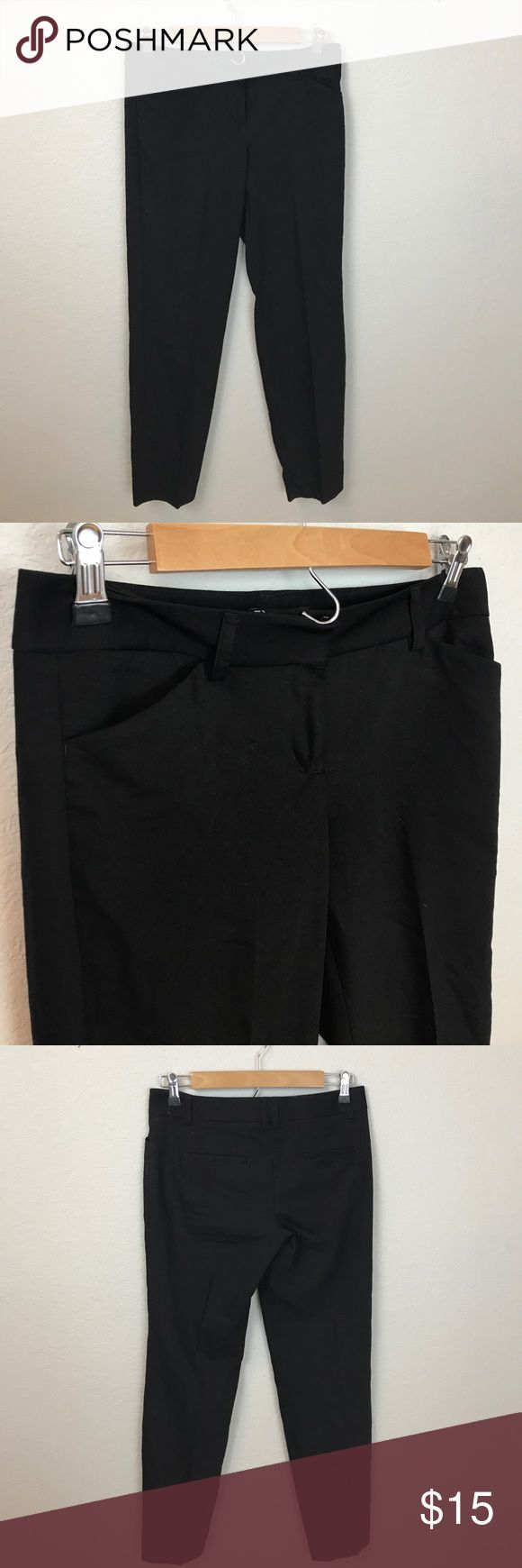 """Express Black Editor Pants 49% polyester 47% cotton 4% spandex   Length is app 35.5"""". Inseam is app 27"""". Small snag seen in last picture. Not noticeable when wearing. Easily fixed if needed. Express Pants Ankle & Cropped"""