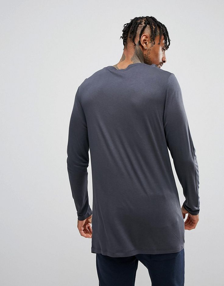 ASOS Longline Long Sleeve T-Shirt In Drape Viscose Fabric In Washed Bl