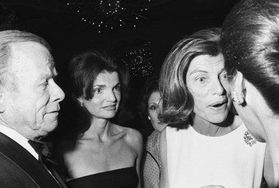 Eunice Kennedy Shriver and Jacqueline Kennedy at a fashion show to benefit the Special Olympics