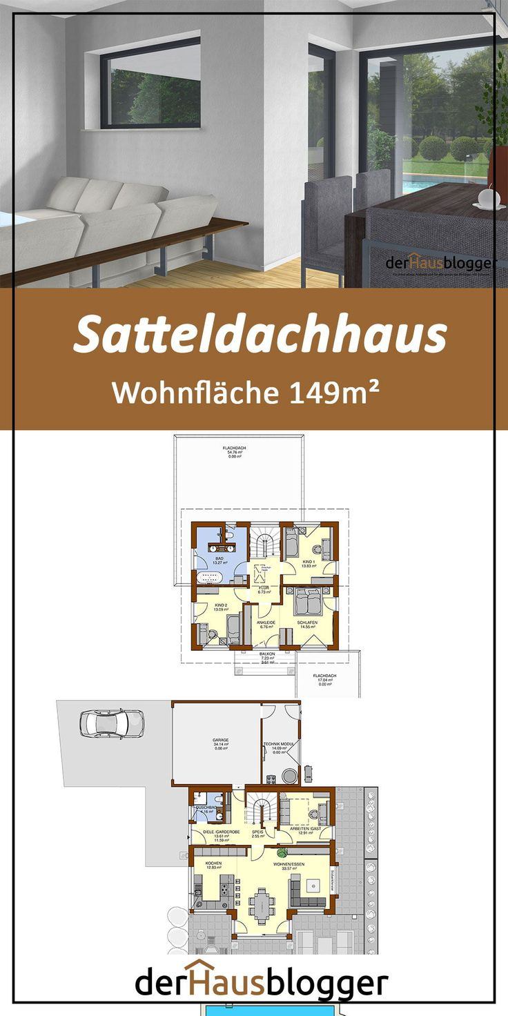 Satteldachhaus 149m² in 2020 Haus, Grundriss