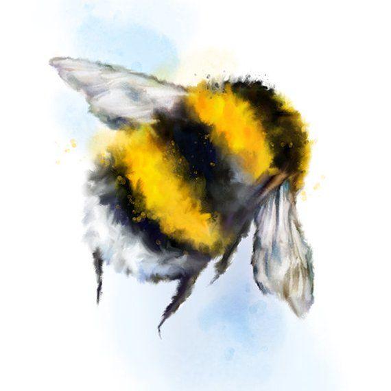 Watercolour Bee Art Print, Bumble Bee Housewarming Gift, Nursery Wall Decor, Honey Bee Gift, Bumble Bee Painting, Animal Art Print Poster