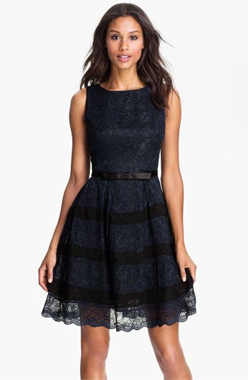 Taylor Dresses Button Back Lace Fit & Flare Dress | Party Dress|