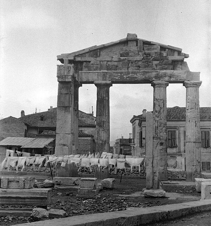 Hanging laundry at the Roman Agora (on the north side of the Acropolis) ~ mid 1920's