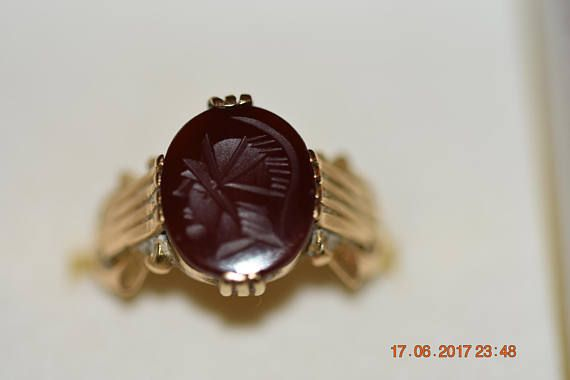 Antique Art Deco unisex ring with engraving 14ct gold set