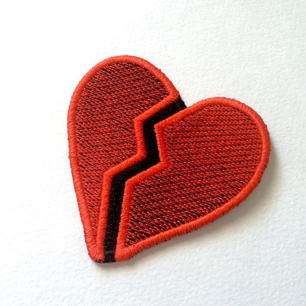 Broken Heart Emoji Patch ($4.50) ❤ liked on Polyvore featuring accessories