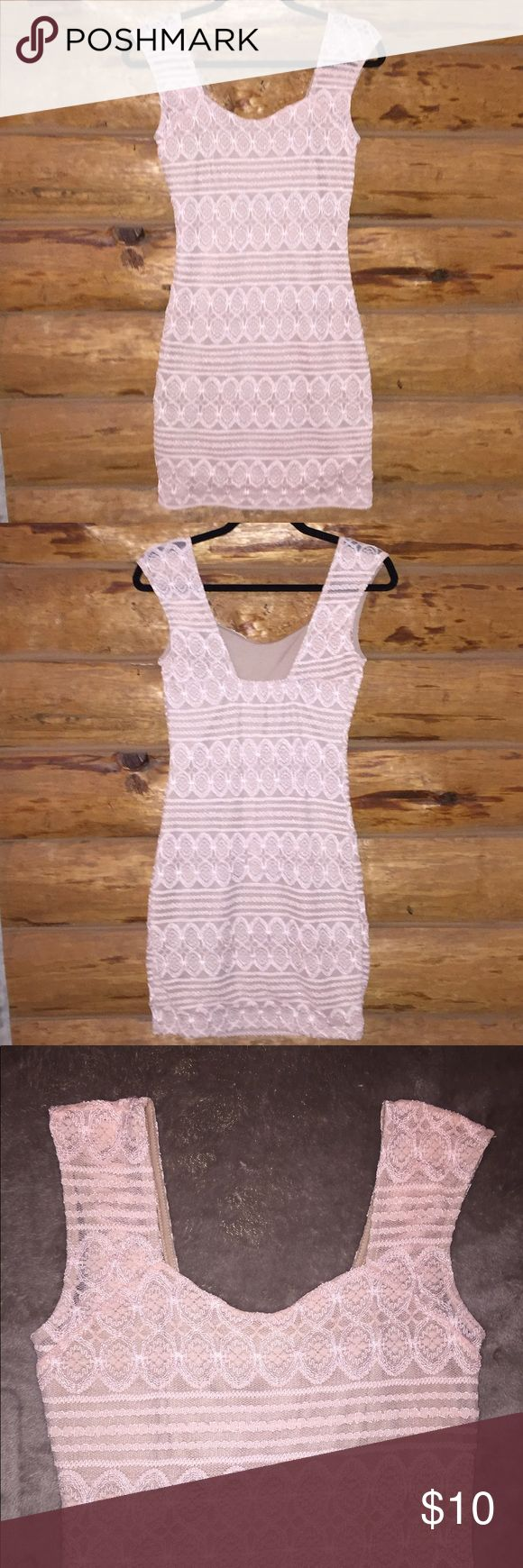 Pale Pink Body Central Dress w/ Nude Lining This Pale Pink Body Central Bodycon Dress is a size Medium but it's size tag has been removed. It is in great condition, only worn once. It has a nude lining which prevents seeing through the Pale Pink Lace. Body Central Dresses Mini