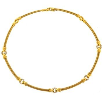 18k Yellow Gold Philippe Charriol Diamond Cable Necklace 58% off retail