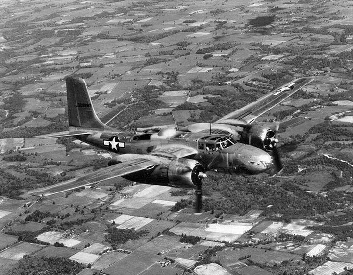 A-26 Invader aircraft in flight.