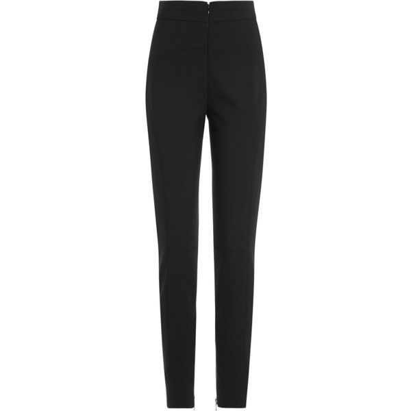 Alexander McQueen High Waisted Wool Pants ($810) ❤ liked on Polyvore featuring pants, bottoms, black, high waisted trousers, slim black pants, high rise pants, slim pants and wool trousers