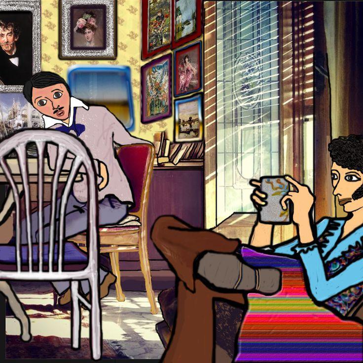 """Morel se ne stava sdraiato sul divano come fosse a casa propria :  """" Ma vedo che in mezzo a tanti ritratti di famiglia, non ne avete neanche uno del vostro eccellentissimo zio! Mi sono permesso di portarvi questo…gli ero molto affezionato io!"""