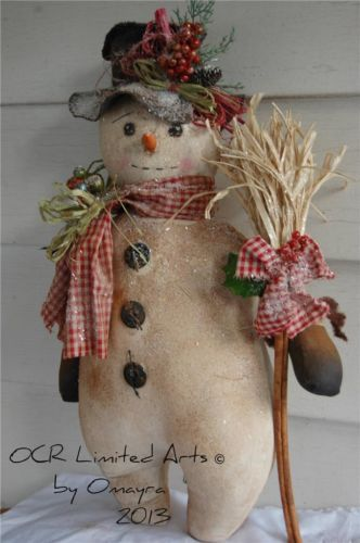 17in tall. Primitive Folk Art LARGE SNOWMAN DOLL & Broom Christmas Winter Home decor OOak