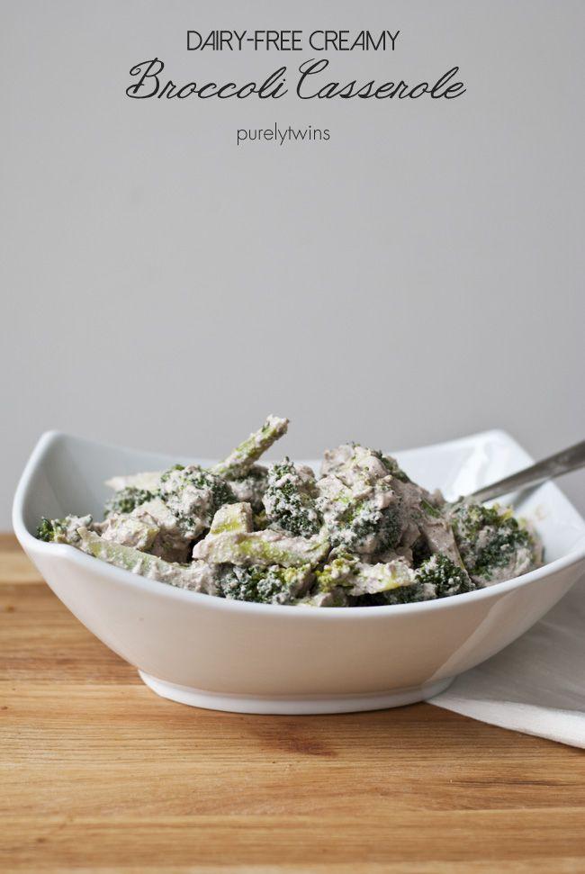 Gluten-free dairy-free CREAMY broccoli casserole (vegan, paleo friendly) recipe via purelytwins.com