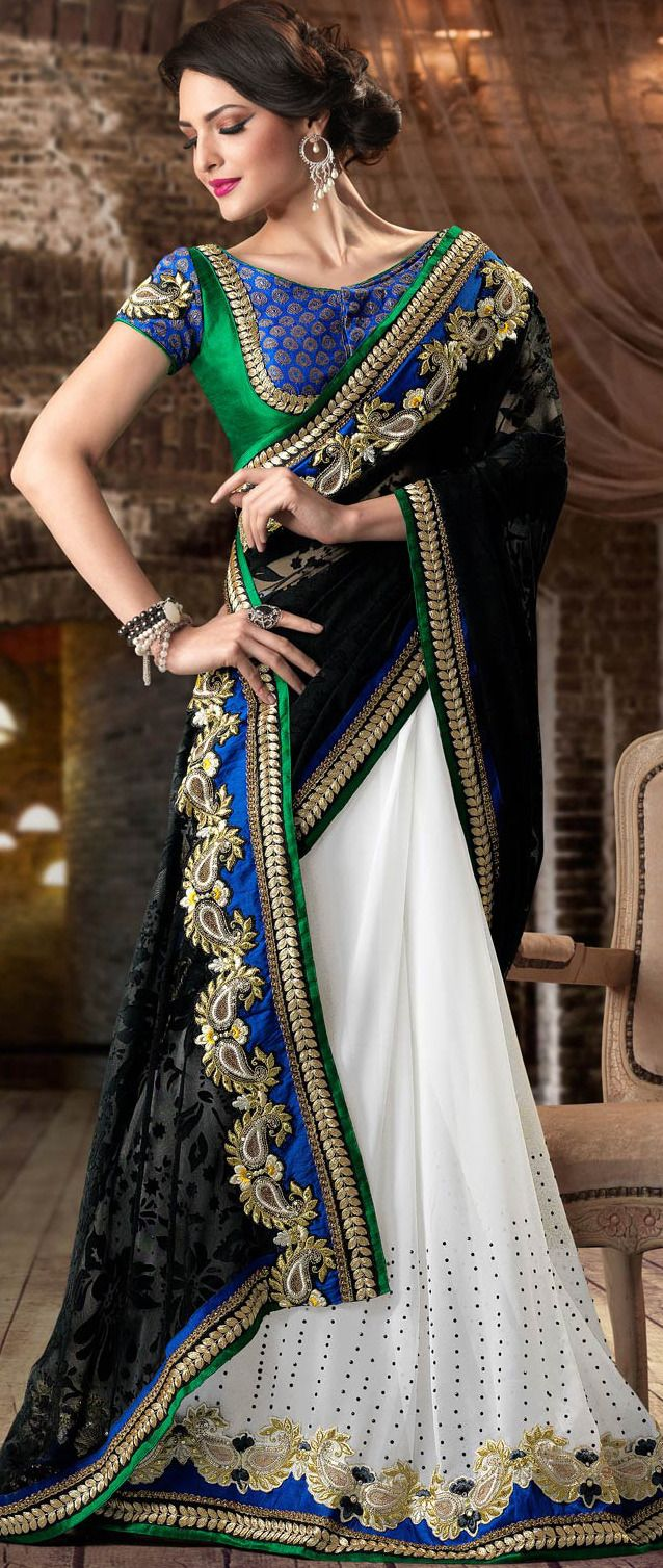 #Black and White Brasso Faux Georgette #Saree With Blouse