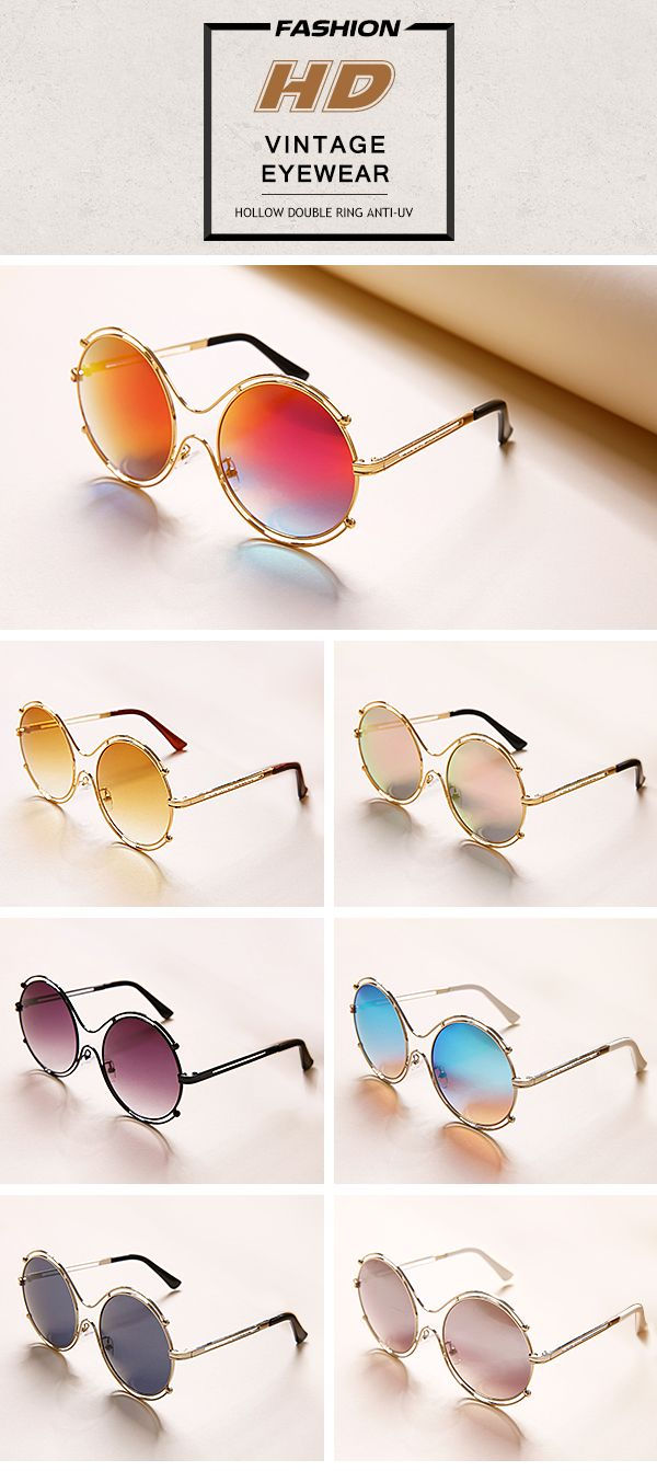[$ 9.85]   Fashion Tide Woman Hollow Double Ring Anti-UV Sunglasses Leisure Vintage HD Glasses Eyewear