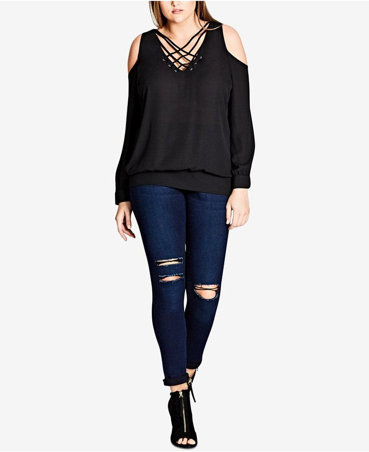 City Chic Trendy Plus Size Strappy-Front Cold-Shoulder Top