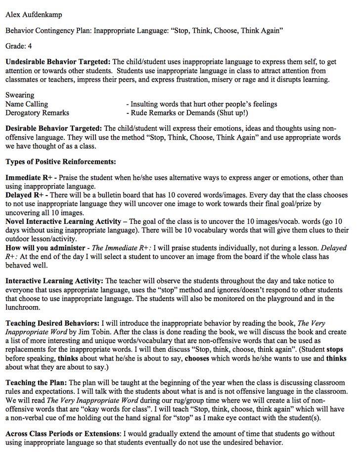 12 best Behavior Contingency Plans images on Pinterest Behavior - examples of contingency plans
