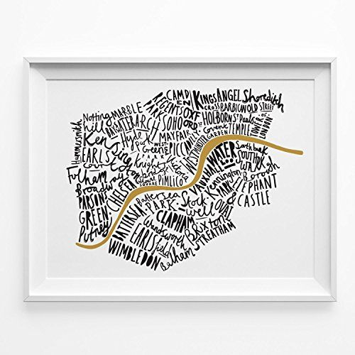 Illustrated Map of London print - A4 Black and Gold - typographic map of London - London word map - map print - map poster - London tube - London poster Old English Company http://www.amazon.co.uk/dp/B00IJV2BB8/ref=cm_sw_r_pi_dp_sN4pwb19NBRJ4