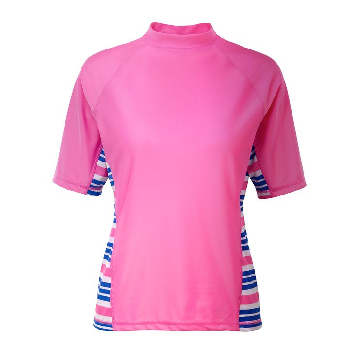 These swim shirts for women are a sporty twist on our classic short sleeve swim shirt. Choose to wear this shirt for all of your outdoor activities.