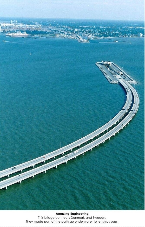 i want to go to Sweden to take this underwater road to Denmark. so cool