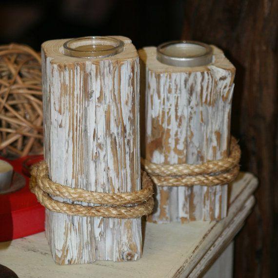Reclaimed Wood Candle Holder Set of 2 by DVoulgaridis on Etsy