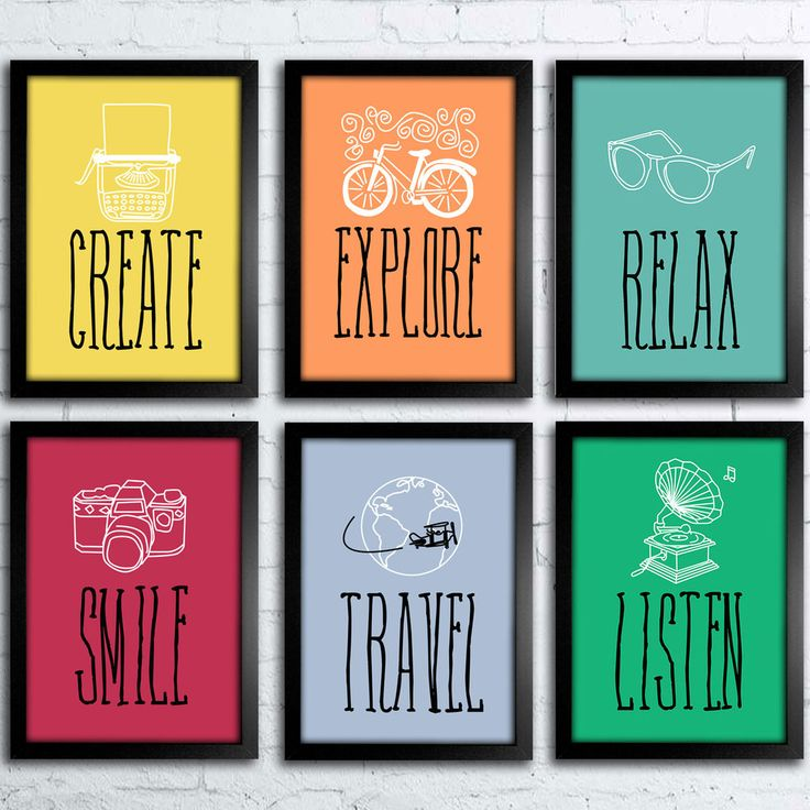 Conjunto de Quadros Create Explore Smile Travel Relax Listen — www.encadreeposters.com.br