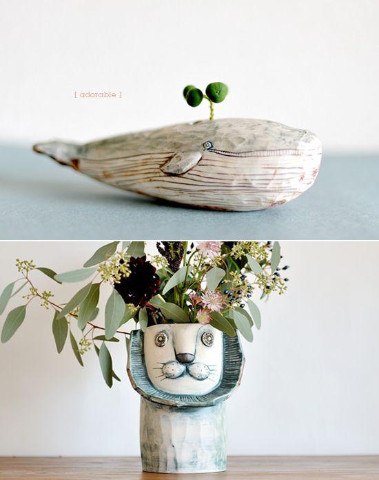 modern chia pets.: Plants Can, Ceramics Animal, Whales Planters, Adorable Planters, Flower Pots, Plants Holders, Unusual Planters, Quirky Planters, Nice Planters