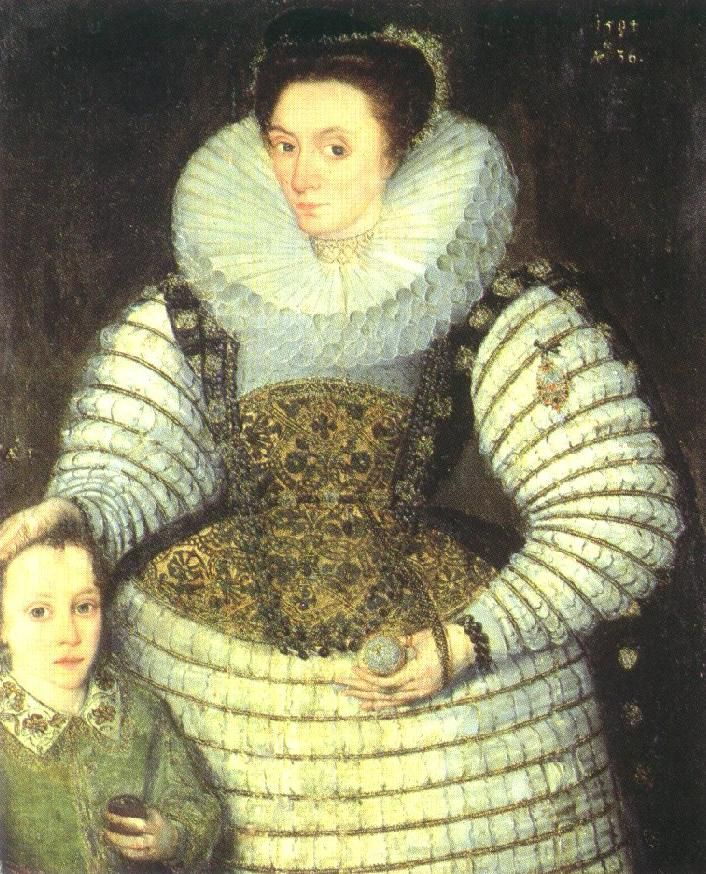"1594 - Frances Walsingham, Countess of Essex, and her son Robert, later the third Earl of Essex, by Robert Peake the elder.   Inscribed top right ""1594 AEte 36"", over the child's head ""AEte 5"" Attributed to Robert Peake"