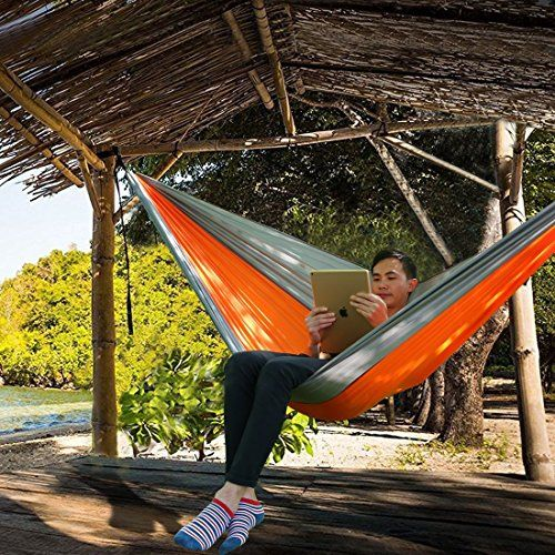 Outdoor Camping Hammock with 10FT 16-Loop Tree Straps by FARLAND - Portable Nylon Parachute Lightweight Double Hammocks Light Grey/Orange. For product & price info go to:  https://all4hiking.com/products/outdoor-camping-hammock-with-10ft-16-loop-tree-straps-by-farland-portable-nylon-parachute-lightweight-double-hammocks-light-greyorange/